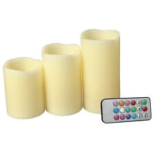 "New Set of 3 LED Ivory Color Flameless Candles With Remote Control 4"" 5"" 6"""