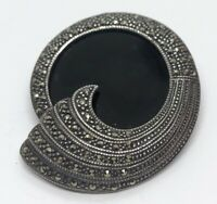 Vintage Sterling Silver Brooch Pin 925 Deco Marcasite Onyx 925a