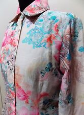 Immaculate Size 10 Glenhill White & Pink Floral Silk/Cotton Blouse- 48cm Bust