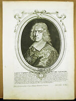Louis II Cardinal & Duke of Vendome D' Stamp Sc Larmessin c1680 Engraving Xvii