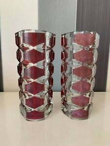 Pair of Vintage French Mid Century Crystal Vase Clear And Dark Red Marked