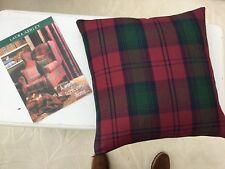 Vintage Laura Ashley Cushion Cover In Lindsay Tartan Fabric , Full Length Zip.