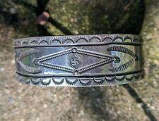 Stamped Whirling Log Bracelet Vintage Sterling Silver Hand
