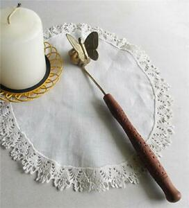 VINTAGE SOLID BRASS BUTTERFLY SHAPE CUP CARVED WOOD HANDLE CANDLE SNUFFER