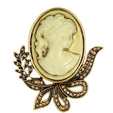 Antique Gold Vintage Victorian Style Cameo Brooch