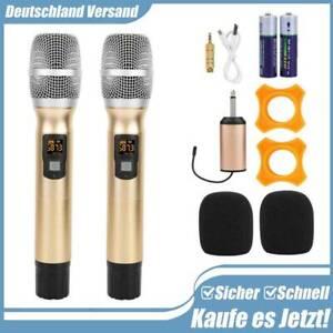 2er DJ PA 25-Kanal UHF Funk Mikrofon Set Wireless Microphone Kabellos Microfon