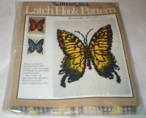 """VINTAGE CARON BUTTERFLY CANVAS ONLY LATCH HOOK 20"""" X 27"""" OPEN PKG SOLD AS IS"""