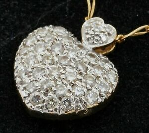 18K & 14K gold 3.0CTW diamond/ruby cluster reversible heart pendant necklace
