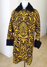 Iconic GIANNI VERSACE gold & black Baroque printed silk raincoat with astrakhan