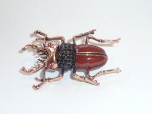 Stag Scarab Beetle in Brown Enamel & Gold Tone Diamante Detail New Design