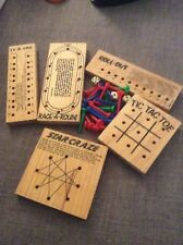 FIVE WOODEN GAMES/BRAIN TEASER PUZZLES WITH DICE AND PEGS TIC TAC TOE/ROLL-OUT