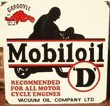 "MOBILOIL ""D""  ENAMEL SIGN (MADE TO ORDER) #110"