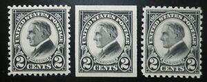 U.S.Stamp:Scott#610- #612,  2c, Black, The Harding Memorial Issues of 1923, OGNH