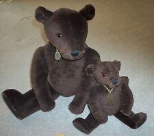 """12"""" Little Arthur 22"""" Arthur Rigsby Brown Mohair Vintage Little Folk Teddy Bears"""