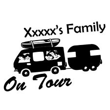 CUSTOM FAMILY NAME ON TOUR Sticker Decal Car Vinyl Personalized Text #6514EN
