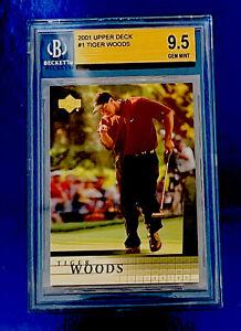 2001 Upper Deck Golf #1 Tiger Woods RC Beckett 9.5 GEM MINT Prayers For Tiger 🙏