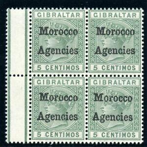 Morocco Agencies 1898 QV 5c green block of four superb MNH. SG 1. Sc 1.