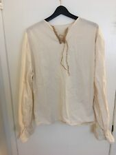 Halloween Mens Pirate Off white Beige Shirt Large Vintage