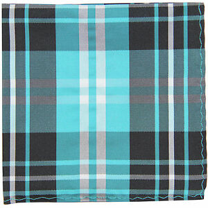 New Men's Polyester Woven pocket square hankie only black turquoise white plaid