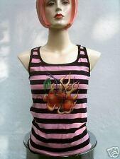 ROCKABILLY Hot Cherry Kirschen Emo Rosa/Pink Schwarz Streifen TANK TOP T-SHIRT S