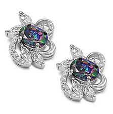 Silver Earrings with Cubic Zirconia Flower Height 15mm (0.60 inch) Stone Rainbow
