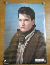 Charlie Sheen Color Poster Young Guns Dick Brewer 32 x 21 VTG 1988