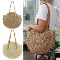 Women Woven Handbag Summer Beach Tote Straw Bag Round Rattan Shoulder Bags