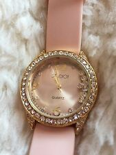 STUDIO TIME Baby Pink and Gold Rhinestone Watch for Women