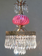 Cranberry swirl optic brass Glass Lamp Chandelier Vintage Swag Fenton crystal
