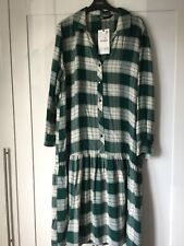 ZARA GREEN OVERSIZED CHECK MIDI PLEATED SHIRT COLLARED DRESS  L /14-16 RRP£49.99