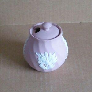 Wedgwood Jasperware Pink Floral Small Twisted Mustard Pot