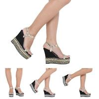 WOMEN LADIES HIGH HEEL ANKLE STRAP WEDGE PLATFORM ESPADRILLES SANDALS SIZE 3-8
