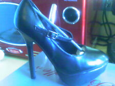 BRECKELLE'S BLACK LEATHER LOOK PLATFORM MARY JANES STILETTO 7 M