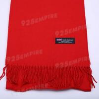 Women 100% CASHMERE Warm PLAIN Scarf pure solid Red Wool MADE IN SCOTLAND