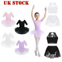 UK Kids Girls Lyrical Ballet Tutu Dress Short Sleeve Dancing Leotard Gymnastics