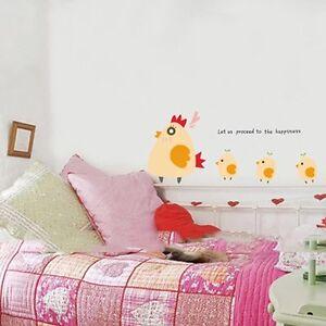 Marching Chicken Wall Window Sticker Kids Children Boy Girl Room Nursery Decor