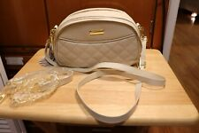 Joy & Iman Leather Quilted Crossbody Purse / Handbag - RFID - Latte/Off White