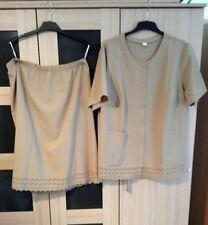 schönes, neues Sommer Damen Kostüm, Bluse Gr. 50, Rock Gr. 48, in beige
