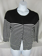 Cable & Gauge Sweater XL Cardigan Striped Black & White Cotton Nylon Spandex NWT