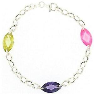 Toc Argento Sterling Rosa Lime E Cristallo Viola Perline Bracciale 19.1cm