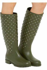Saint Laurent Swarovski Crystal Rubber Rain Boots Olive Green/Khaki; 40EU; NIB