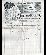 """CLERMONT-FERRAND (63) MINOTERIE DORURE VITRERIE """"SCHAEFER & BRUAIRE"""" en 1890"""