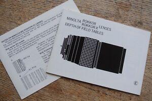 Minolta Rokkor X Lenses Depth of field tables leaflet  NICE