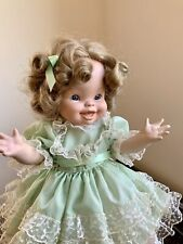 Porcelain Freckles Curly Top Signed Dated 1986 Doll Artist Made Glass Eyes Lace