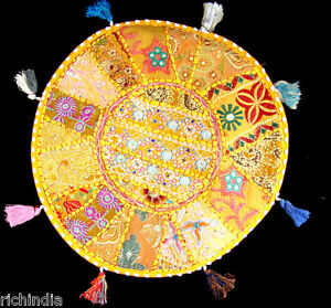 """16"""" ROUND FLOOR PILLOW CUSHION SEATING THROW Ethnic Vintage Chair Decor Indian"""