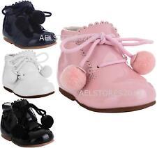 Girls Bridesmaids Pom Pom Party Shoes Patent Shoes Infant Sizes UK 1,3,5,7,9,10