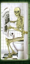 Skeleton Sitting on a Toilet Door Cover Wall Scene Setter Ghostly Halloween Decs