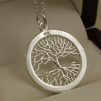 """925 Stamped Sterling Silver Pltd Tree of Life Pendant - 18"""" Necklace Chain -83"""