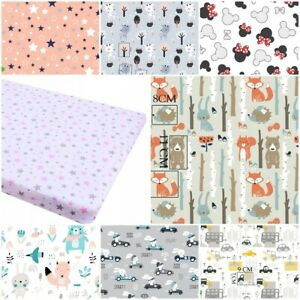 COT FITTED SHEET PATTERNED 100% cotton BED COVER 60x120 70x140  stars cars cloud