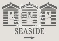 BEACH HUTS a5 STENCIL Furniture Vintage Shabby Chic SEASIDE ❤ 190 MYLAR